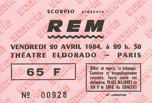R.E.M. - Paris ticket